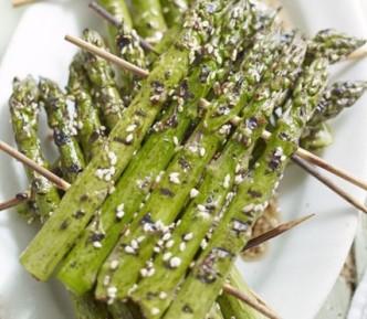 Sesame Grilled Asparagus Rafts