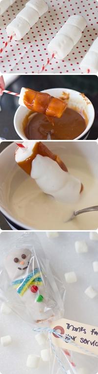 Chocolate caramel marshmallow snowmen