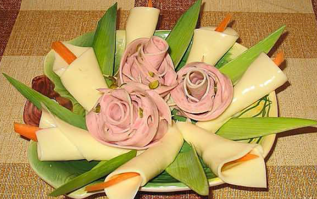 Cales and Roses made out of cheese and baloney