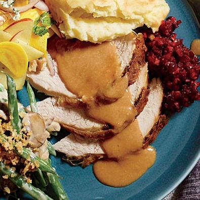 Oil-Basted Parmesan Turkey with Walnut Gravy