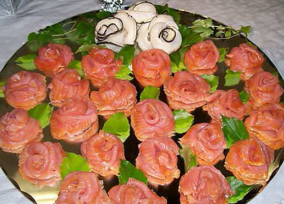 Roses made out of salmon