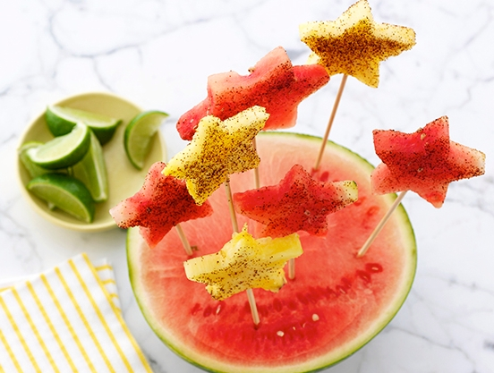 Marcela Valladolid's Galaxy fruit props